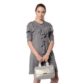 HONG KONG CLOSE OUT DEAL- 100% Genuine Leather Silver Grey Metallic Colour Bag with External Zipper