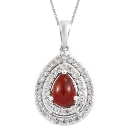 2.50 Ct Red Ethiopian Opal and Zircon Halo Pendant With Chain in Platinum Plated Silver 4.92 Grams