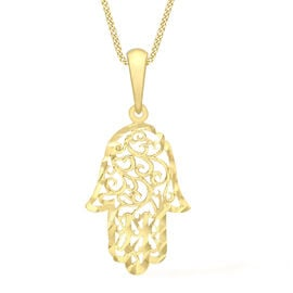 Italian Made - 9K Yellow Gold Diamond Cut Hamsa Hand Pendant