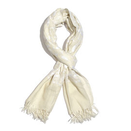 100% Merino Wool Cream and White Colour Paisley and Leaves Embroidered Scarf with Tassels (Size 180X68 Cm)