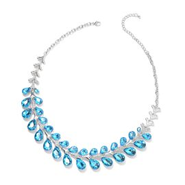 Simulated Blue Sapphire and White Austrian Crystal Statement Necklace 22 with 4 inch Extender