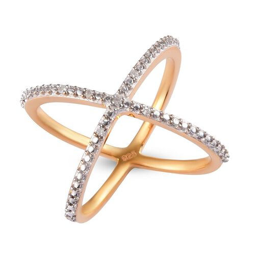 Diamond Criss-Cross Ring in 14K Gold Overlay Sterling Silver 0.04 Ct.