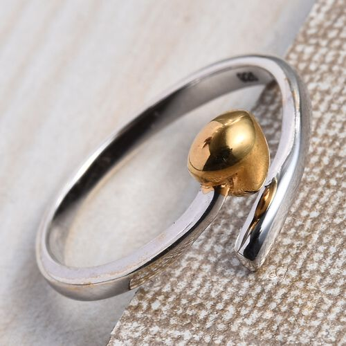 Yellow Gold and Platinum Overlay Sterling Silver Heart Promise Ring, Silver wt. 2.09 Gms