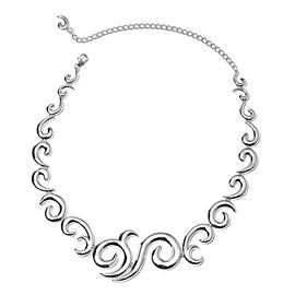 LucyQ Cambodian Zircon Ocean Wave Design Necklace in Rhodium Plated Silver 81.4 Grams 14.5 Inch