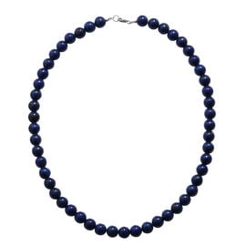 18 Inch Lapis Lazuli Beaded Necklace in Rhodium Plated Sterling Silver 250 Ct