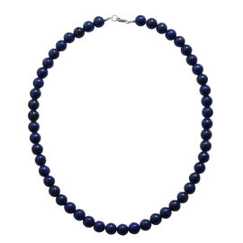 Lapis Lazuli Necklace (Size 18) in Rhodium Overlay Sterling Silver   250.000 Ct.