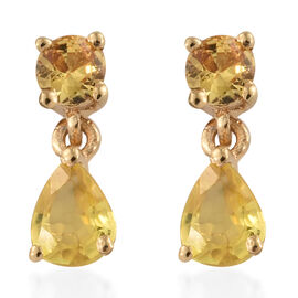 Yellow Sapphire (Pear) Earrings (with Push Back) in 14K Gold Overlay Sterling Silver 1.250 Ct.