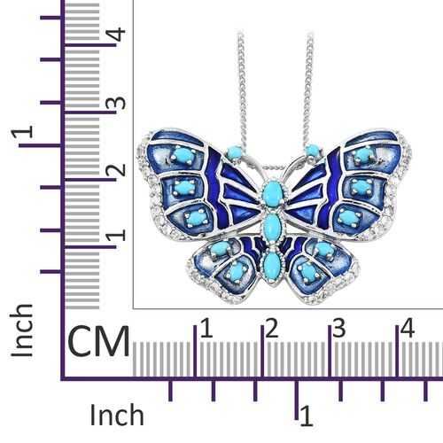 Arizona Sleeping Beauty Turquoise and Natural Cambodian Zircon Enameled Butterfly Pendant With Chain in Platinum Overlay Sterling Silver 2.000  Ct, Silver wt 10.27 Gms