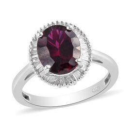 Rhodolite Garnet and Diamond Halo Ring in Platinum Overlay Sterling Silver 3.50 Ct.