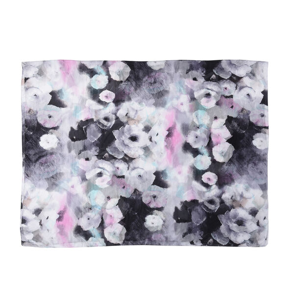 Close Out Deal- 100% Mulberry Silk Floral Pattern Scarf (Size 170x110Cm) - Black and White