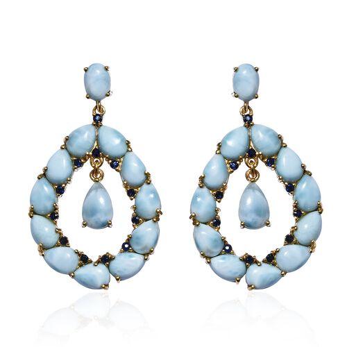 Larimar (Ovl), Kanchanaburi Blue Sapphire Earrings (with Push Back) in 14K Gold Overlay Sterling Sil