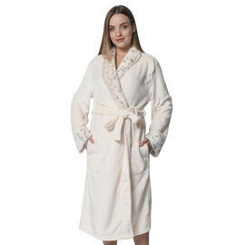 Ivory Colour Plush Long Robe with Faux Fur Collar (64x115cm)