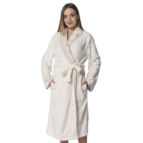 Ivory Colour Plush Long Robe with Faux Fur Collar (64x115cm)