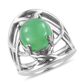 Green Jade (Ovl 12x10 mm) Ring in Platinum Overlay Sterling Silver 5.250 Ct, Silver wt 5.00 Gms.
