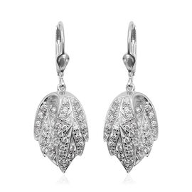 ELANZA Simulated Diamond Drop Earrings in Rhodium Plated Sterling Silver 6.12 Grams With Lever Back