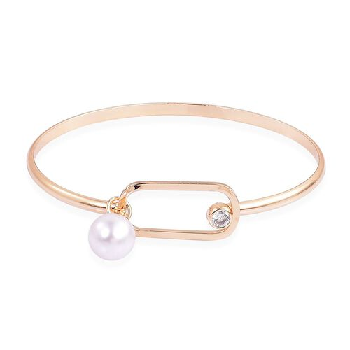 Designer Inspired-AAA White Austrian Crystal and Simulated Pearl Bangle (Size 7.5) in Yellow Gold Tone