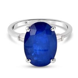 9K White Gold  AA Diffused Blue Spinel and Diamond Ring 6.64 Ct