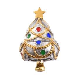 Charmes De Memoire Platinum Overlay Sterling Silver Enamelled Star Christmas Tree Charm, Silver wt 5