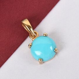 Arizona Sleeping Beauty Turquoise Solitaire Pendant in 14K Gold Overlay Sterling Silver 1.500 Ct.