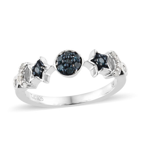 GP Blue Diamond (Rnd), Kanchanaburi Blue Sapphire Ring in Platinum Overlay and Blue Plating Sterling