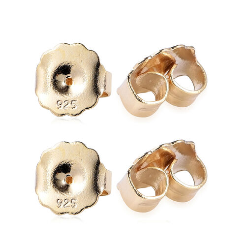 Set of 2 Pair of Ear Backs (9mm) in Yellow Gold Overlay Sterling Silver