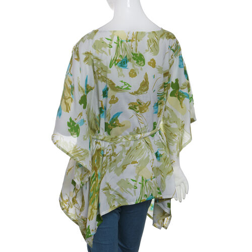Designer Inspired- Limited Available- 100% Modal -  Off White and Green Colour Leaves and Birds Pattern Top/ Kaftan(Size 65 Cm)