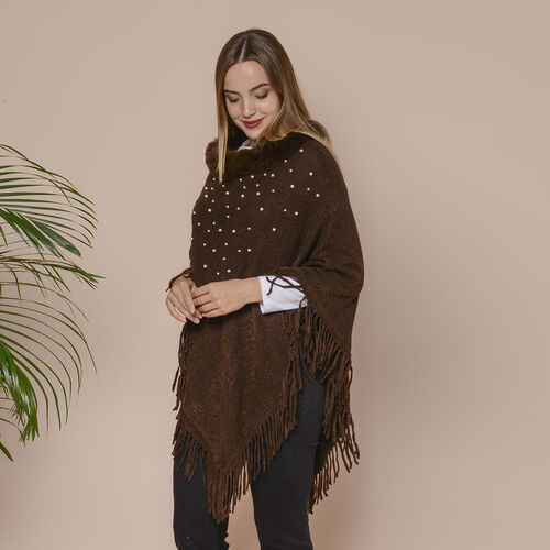 Knit Poncho with Faux Fur Collar, Simulated Pearls and Fringe Detail (Size 99x81+10cm) - Chocolate Brown