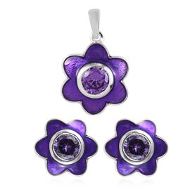 2 Piece Set - ELANZA Simulated Amethyst (Rnd) Enamelled Floral Pendant and Stud Earrings (with Push