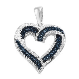 Blue and White Diamond (Rnd) Heart Pendant in Platinum Overlay Sterling Silver