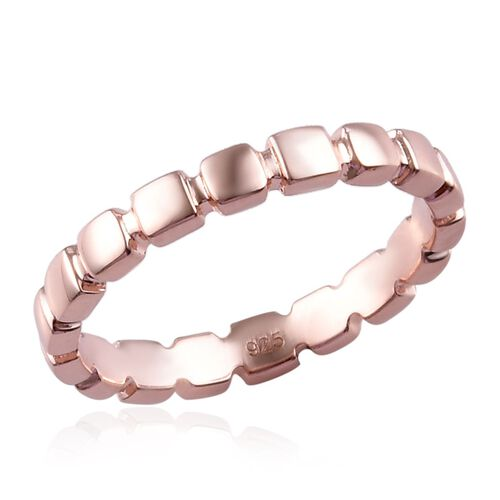14K Rose Gold Overlay Sterling Silver Band Ring