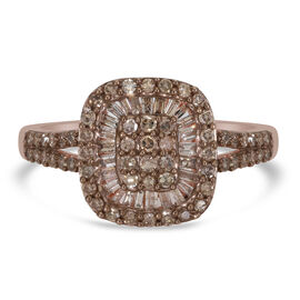 Champagne Diamond Cluster Ring in Rose Gold Sterling Silver 1.04 Ct.