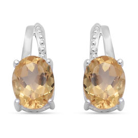 Citrine (Ovl) Earrings (with Push Back) in Sterling Silver 3.400 Ct.