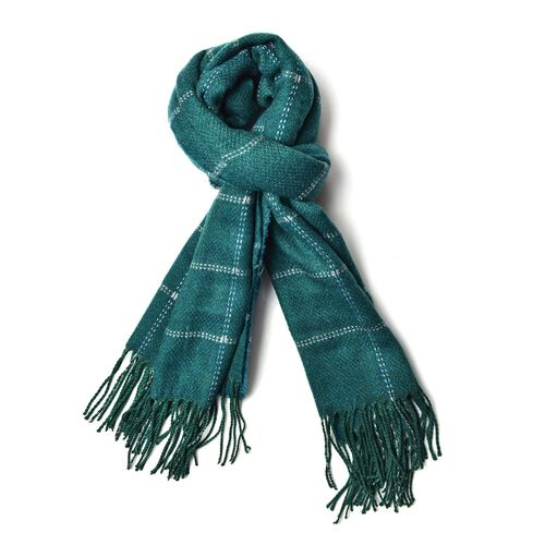 Close Out Deal - Italian Designer Green Colour Checks Pattern Scarf with Tassels (Size 190X87 Cm)