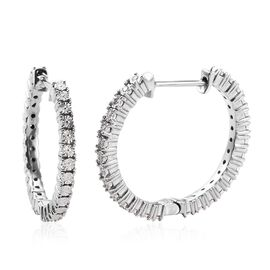 Diamond (Rnd) Hoop Earrings (with Clasp) in Platinum Overlay Sterling Silver 0.15 Ct, Silver wt 6.30