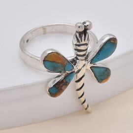 Artisan Crafted Spiny Turquoise Dragonfly Ring in Rhodium Overlay Sterling Silver