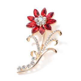 Simulated Ruby (Mrq), White and Magic Colour Austrian Crystal Flower Brooch in Yellow Gold Tone