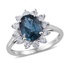 Super Auction- 9K White Gold Extremely Rare AA Indigo Kyanite (Ovl), Natural Cambodian Zircon Ring  3.00 Ct.