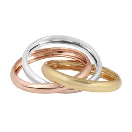 Vicenza Collection Trinity Band Ring in 9K Yellow, Rose and White Gold