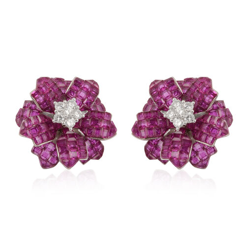 Lustro Stella - Mystery Setting Simulated Ruby and Simulated Diamond Floral Stud Earrings (with Push