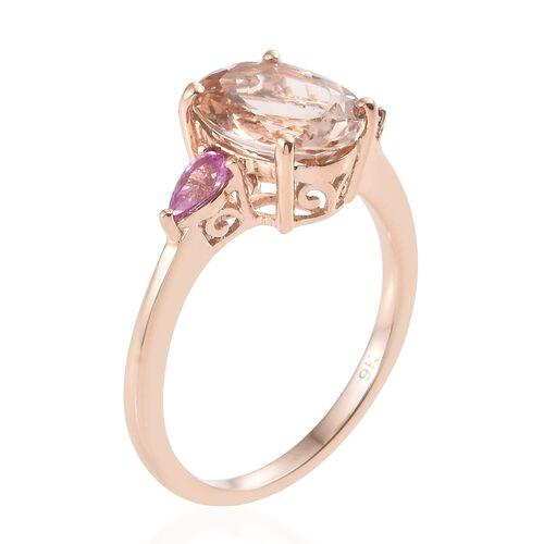 9K Rose Gold AA Marropino Morganite (Ovl 3.20 Ct), AA Pink Sapphire Ring 3.500 Ct.