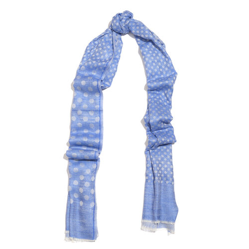 100% Cashmere Wool Blue and Grey Colour Polka Dots Pattern Scarf with Fringes (Size 200X70 Cm)