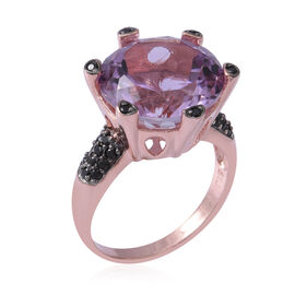 Vintage Boutique Collection-Rose De France Amethyst (Rnd 15 mm), Boi Ploi Black Spinel Ring in Rose