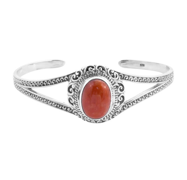 Royal Bali Collection - Red Jade Cuff Bangle (Size 7.5) in Sterling Silver 14.53 Ct, Silver wt 21.62