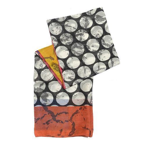 100% Mulberry Silk Orange, Black, White and Multi Colour Moon Pattern Scarf (Size 180x100 Cm)