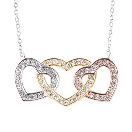 J Francis - Crystal from Swarovski White Crystal Three Heart Necklace (Size 18) in Tri Tone
