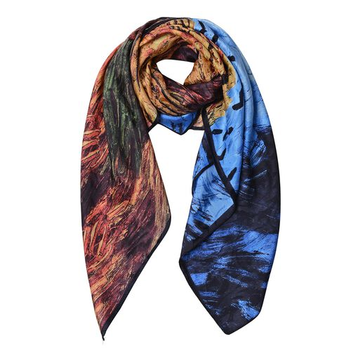 Limited Edition 100% Mulberry Silk Van Gogh Wheat Field with Crows HD Digital Printed Scarf (Size 86