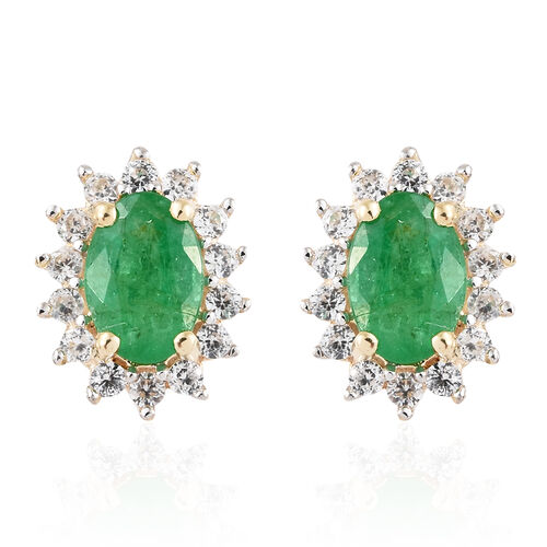 9K Yellow Gold AA  Kagem Zambian Emerald (Ovl), Natural Cambodian Zircon Halo Stud Earrings (with Push Back)