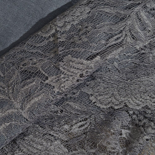 Designer Inspired One Time Offer - Cashmere Wool and Mulberry Silk Shawl With Lace Work and Fringes - Grey (Size 200X70 Cm)