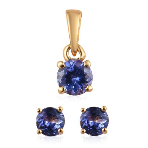 2 Piece Set - Tanzanite (Rnd) Solitaire Pendant and Stud Earrings (with Push Back) in 14K Gold Overl