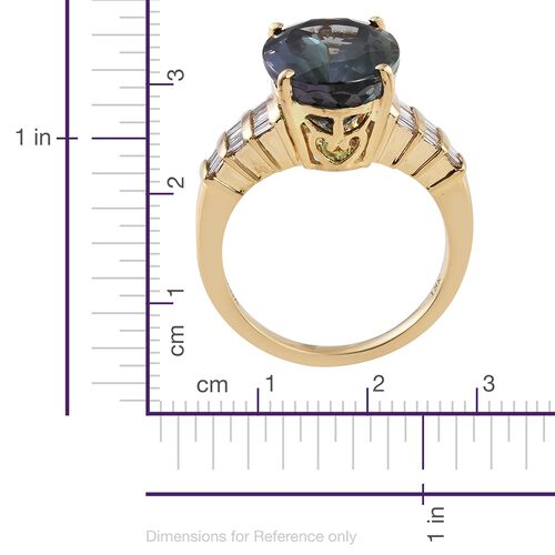 ILIANA 18K Y Gold AAA Peacock Tanzanite (Ovl 7.79 Ct), Diamond (SI/G-H) Ring 8.050 Ct.